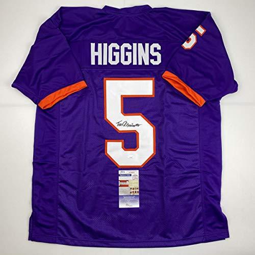 Autographed/Signed Tee Higgins Clemson Purple College Football Jersey JSA COA