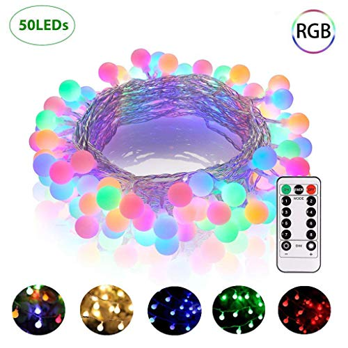 Globe String Lights, 50 LED Colored Outdoor String Lights, Battery Powered String Lights Waterproof, 18 Ft, Patio String Lights with Remote Control for Patio Garden Party Wedding Decoration
