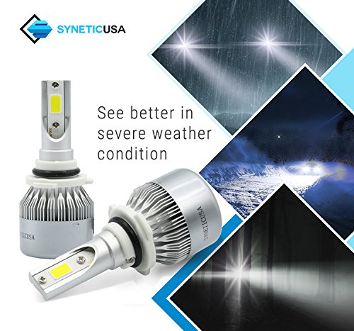 Syneticusa LED High//Low Beam Headlight Conversion Kit Light Bulbs Combo Package 200W 20000LM 6000K White 9005+9006