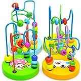 bismarckbeer Baby Toddler Kids Educational Toy Random Wooden Beads Around Intelligence Game Toy Gift