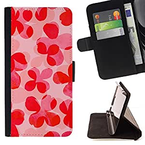 For Sony Xperia M2 Case , Diseño floral rosado del melocotón de Verano- la tarjeta de Crédito Slots PU Funda de cuero Monedero caso cubierta de piel