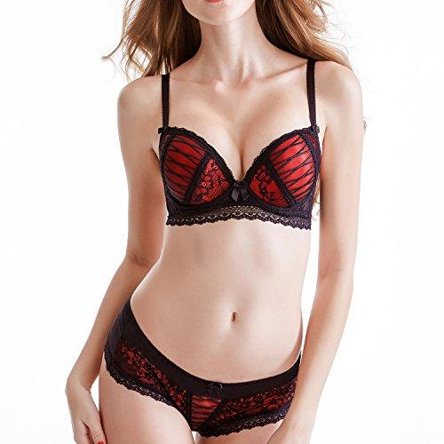 Scarleti Women's Sexy Bra Set -Ladies lace Underwire Push-up Bra&Everyday Bras (40C, Red)