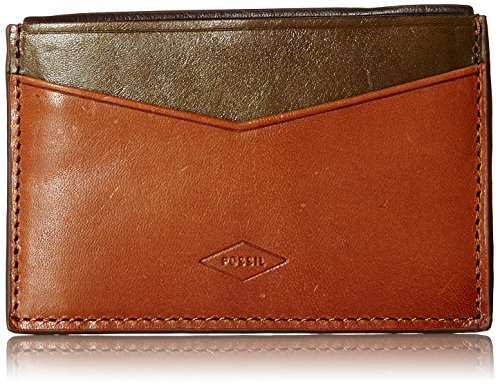 Fossil Embossed Wallet - Fossil Men's Elliot Card Holder, Saddle, One Size