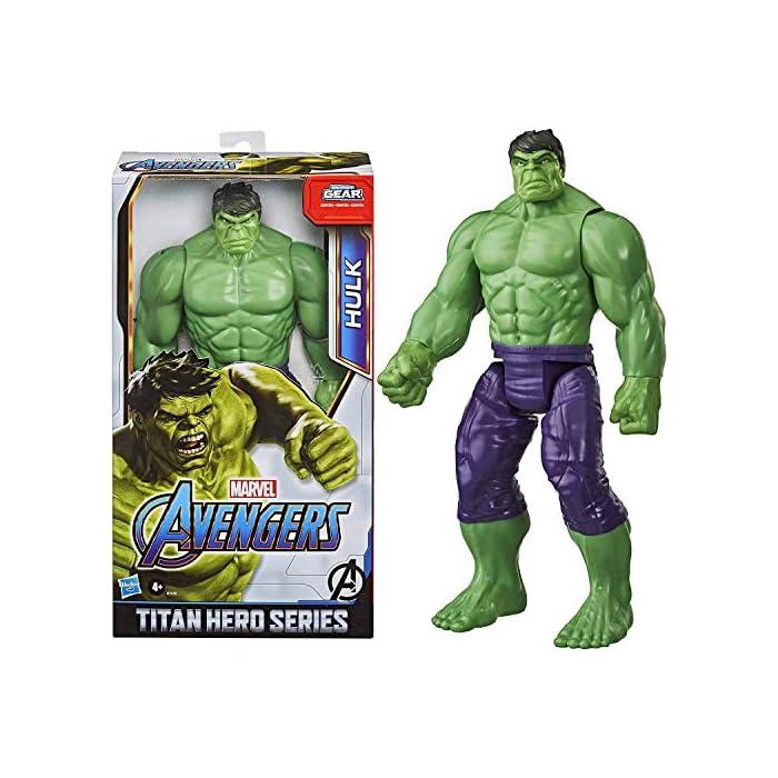 51RcE7uYdmL Imagina a bruce banner convirtiéndose en el enorme héroe verde hulk con esta figura de hulk de 30.cm, inspirada en el diseño clásico del personaje de los cómics de marvel Los fans pueden imaginar al extremadamente fuerte hulk echando abajo muros y lanzándose a la aventura con esta figura de hulk, inspirada en el personaje de los cómics de marvel Conecta el lanzador blast gear (no incluido, se vende por separado con las figuras titan hero blast gear) al puerto posterior de las figuras titan hero series y titan hero blast gear para lanzar proyectiles con tan solo pulsar un botón