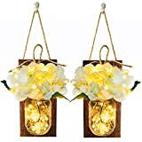 Cheap Mason Jar Sconce Rustic Wall Sconces, Rustic Home Decor,Handle Hooks, Artificial Silk Hydrangea and LED Fairy String Lights Designed for Handmade Home Decoration (Brown Wood)
