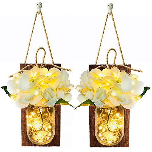 Mason Jar Sconce Rustic Wall Sconces, Rustic Home Decor,Handle Hooks, Artificial Silk Hydrangea and LED Fairy String Lights Designed for Handmade Home Decoration (Brown Wood)