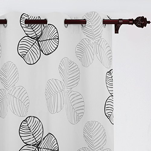 Deconovo Blackout Curtains Grommet Goat Willow Leaf Printed Elegant White Darkening Curtains Window Curtains 52 W x 95 L One (Black Leaf Pattern)