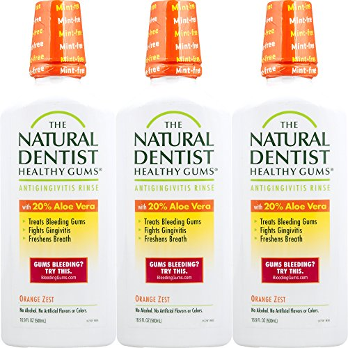 The Natural Dentist Healthy Gums Antigingivitis Mouthwash Orange Zest 16.9 Ounce Bottle (Pack of 3) Alcohol-Free Mouthwash for Daily Use Treats Bleeding Gums and Fights Gingivitis 20% Aloe Vera