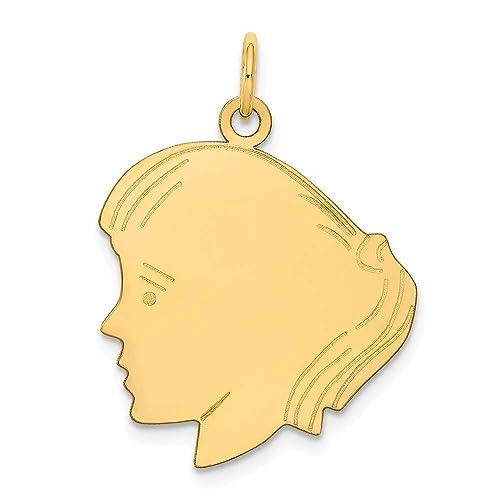 14K Girl Head Charm