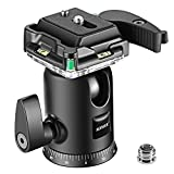 Neewer Camera Video Tripod Ball Head 360 Degree Rotating Panoramic Ballhead with 1/4 inch Quick Shoe Plate and Bubble Level for Tripod Monopod DSLR Camera Camcorder, Load up to 11 pounds/5 kilograms