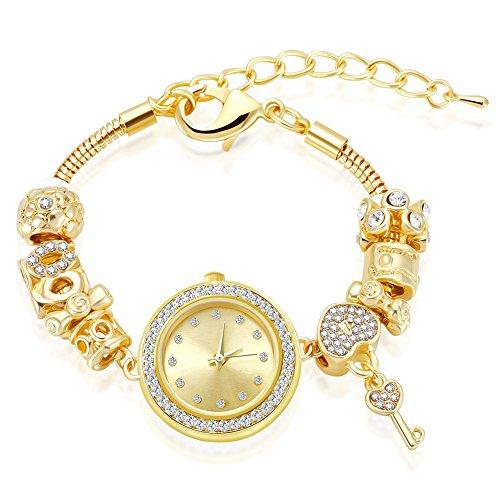 MANBARA Gold Tone Charm Bracelet Wrist Watches for Women Party Jewelry (600BB Heart Key Bracelet Watch)