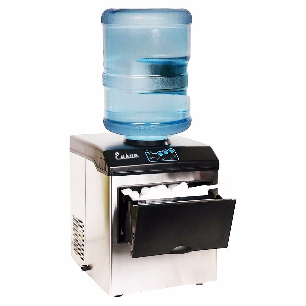 Honesty Water Dispenser w//Built-In Ice Maker Machine Portable Counter Stainless Steel