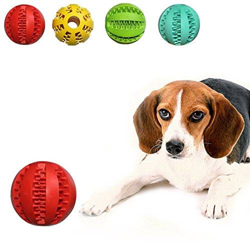 Geekercity Toy Ball for Pet Dogs - Cute Durable Non-Toxic Rubber Strong Tooth Cleaning Dog Toy Balls for Pet Training Playing Chewing Made of Soft Rubber,Bouncy - Diameter 7cm (Red)