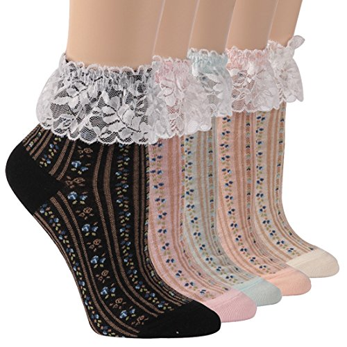Lace Ankle Socks, Socks Daze Soft Cotton Novelty Ruffle Socks with Lace Trim for Women 1 Pair]()