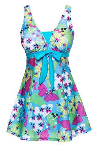 Wantdo Women's High Waist Swimsuit Dress Swimwear Beach Suit Soft Cup Plus Size, US 8-10/Tag 5XL  , Acid Blue (Womens Swim Suite Skirt)