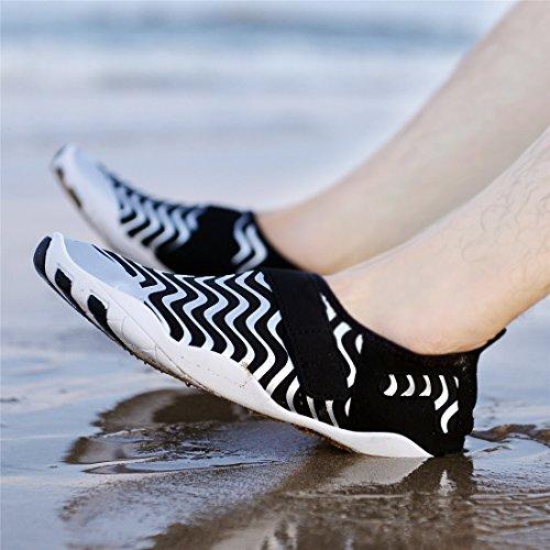 Badeschuhe Damen Schwarz Schnell Wasserdicht Silber Herren on SIXSPACE Strandschuhe Trocknend Breathable für Aquaschuhe Wasserschuhe Slip Surfschuhe Schwimmschuhe fFdxwWqAO
