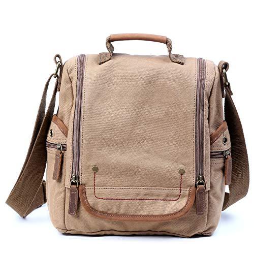 TSD The Same Direction ATONA Canvas Leather Trim Crossbody Bag (Khaki) (The Same Direction Bag)