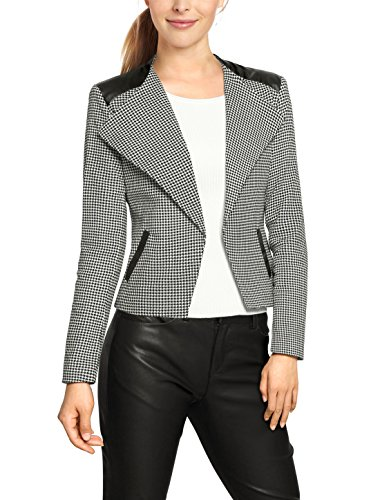 Houndstooth Blazer (Allegra K Women Houndstooth Imitation Leather Panel Slim Jacket L Black)