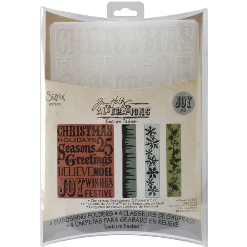 Icicle Border - Sizzix Texture Fades Embossing Folders 4PK - Christmas Background & Borders Set