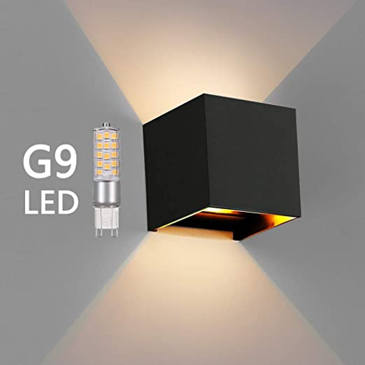 OOWOLF Lampara De Pared, Apliques De Pared Exterior Impermeable IP65 Con Luz Blanco Cálido 3000K LED Bombillas Reemplazables Para Interior Exterior ...