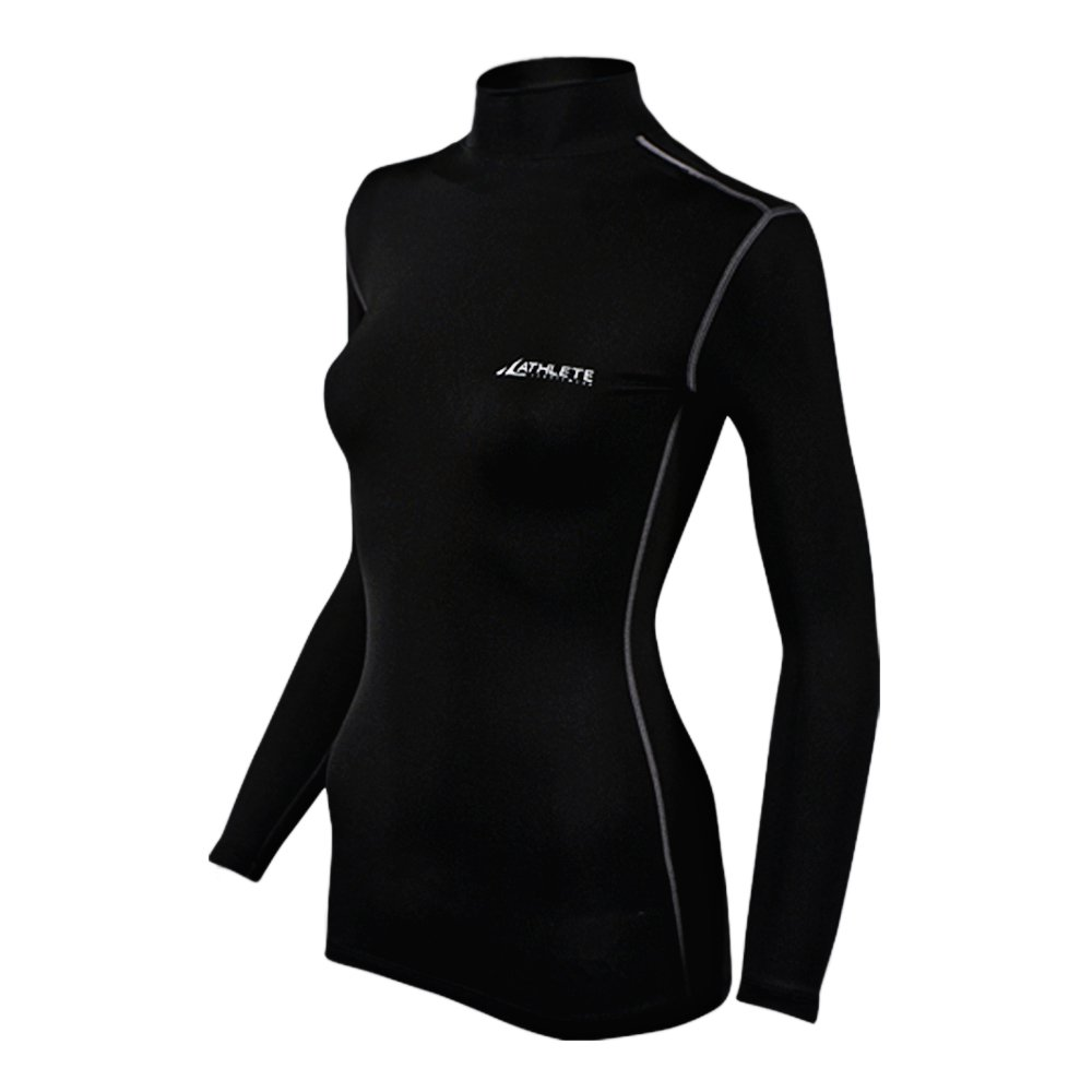 COOVY ATHLETE Women's Compression Base Layer Long Sleeve Mock Shirts, Style W05 (Black)