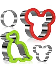 Mickey Mouse Cookie Cutter for kids, Ertek Dinosaur Minnie Mouse Sandwiches Cutter Stainless Steel for Cakes, Bread and Cookie-Bonus Round Shape and Small Mickey Mouse Biscuit Cutters(pack of 4)