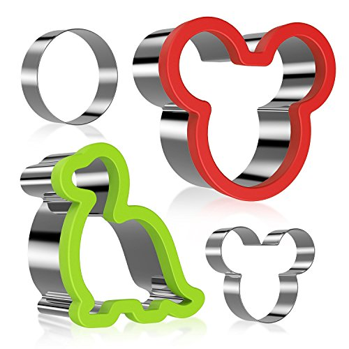 Mickey Mouse Cookie Cutter for kids, Ertek Dinosaur Minnie Mouse Sandwiches Cutter Stainless Steel for Cakes, Bread and Cookie-Bonus Round Shape and Small Mickey Mouse Biscuit Cutters(pack of 4) (Round Mouse Mickey)