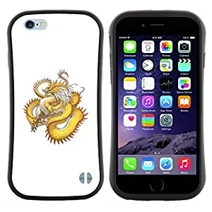 "Pulsar iFace Series Tpu silicona Carcasa Funda Case para Apple iPhone 6+ Plus / 6S+ Plus (5.5 inch!!!) , Oro amarillo Dragón Serpiente Larga Cola"""