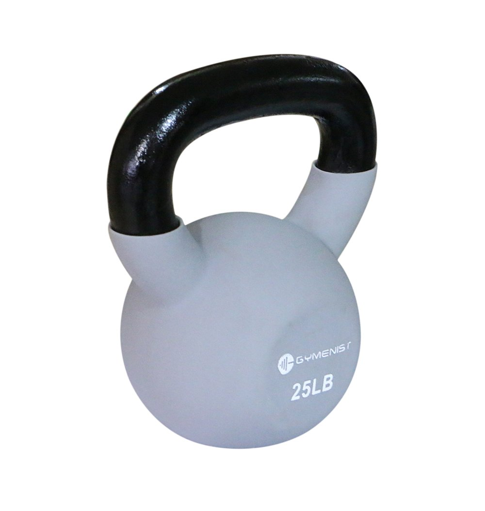 GYMENIST Kettlebell Fitness Iron Weights with Neoprene Coating Around The Bottom Half of The Metal Kettle Bell (25 LB)