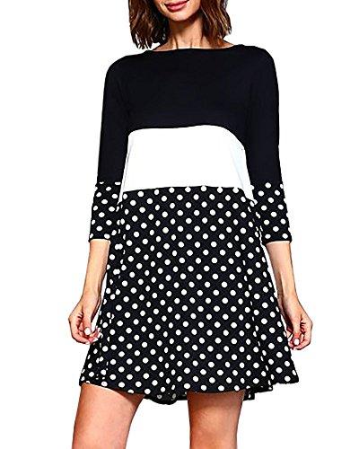 4 Tunic Striped Casual Color Tshirt Sleeve Short 3 Dress Womens Dresses Floral Foshow Block Black z7qvaEnxF