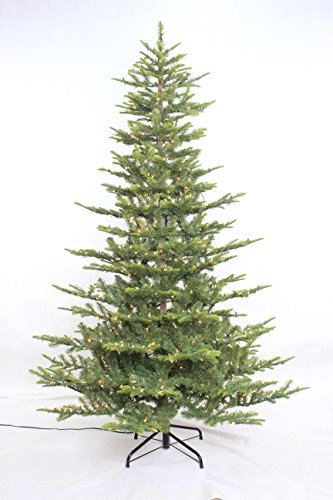 Aspen Fir Artificial Christmas Tree - Puleo International 7.5 foot Pre-lit Aspen Green Fir Tree
