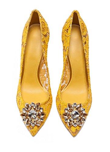 Shoes Slip Lace Toe Womens Wedding Yellow For Pointed Stiletto Rhinestone Sexy Pumps On Ubeauty High Heels y7qKqSU