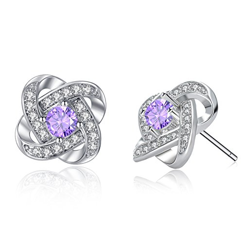 Silver Amethyst Birthstone Stud Earrings - Four Leaf Clover Earrings February Round Personalized Flower Earrings for Girls (White Gold Four)