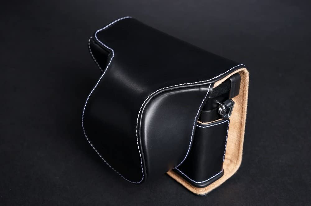 Handmade Genuine real Leather Full Camera Case bag cover for Panasonic LX100 Black color