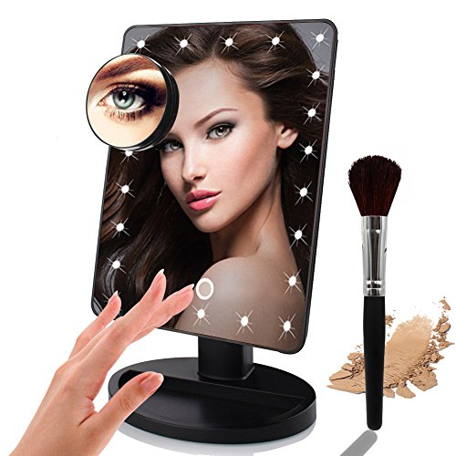 Halloween Facial Makeup (Lighted Makeup Mirror,LED 10x Magnifying Makeup Mirror with Lights 180 Degrees Rotating Touch Screen)