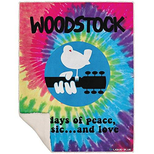 Fleece Tie Throw - Liquid Blue Woodstock Peace Music and Love Spiral Tie-Dye Fleece Throw Blanket 50