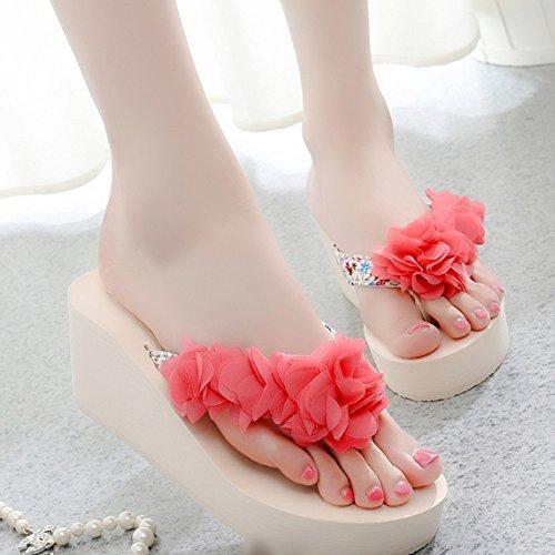 Sandwiches b option los glissantes Zapatos a Pantuflas facultative UK6 mujer Femenino de Mode de playa EU39 sandalias en 5 nbsp;colores en talla la tacón al CN40 6 aire la B grueso libre HxFxgq