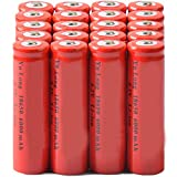 Simply Silver - Rechargeable Battery - 20x 4.2V 18650 Li-ion 6000mAh Red Rechargeable Battery for LED Torch