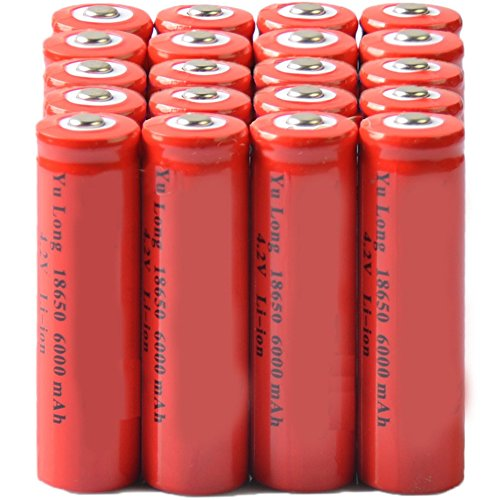 Simply Silver - Rechargeable Battery - 20x 4.2V 18650 Li-ion 6000mAh Red Rechargeable Battery for LED Torch by Simply Silver