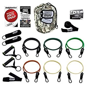 Bodylastics The Military Ready Warrior Resistance Band Sets Come with 6 or 8 of Our Anti-Snap Exercise Tubes, Heavy Duty Components, and a Small Anywhere Anchor (14 pcs - 156 lbs Set).