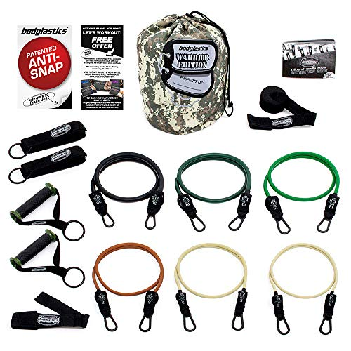 Bodylastics Warrior Resistance Band Set 14 Pcs. This Patented Anti-Snap Combat Ready Comes with 6 Exercise Tubes, Heavy Duty Components, a Small Anywhere Anchor, Bag and User Book (14 pcs - 156 lbs)