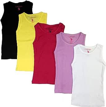 U.S. Polo Assn. Little/Big Girls 5 Pack Rib Knit Tank Tops