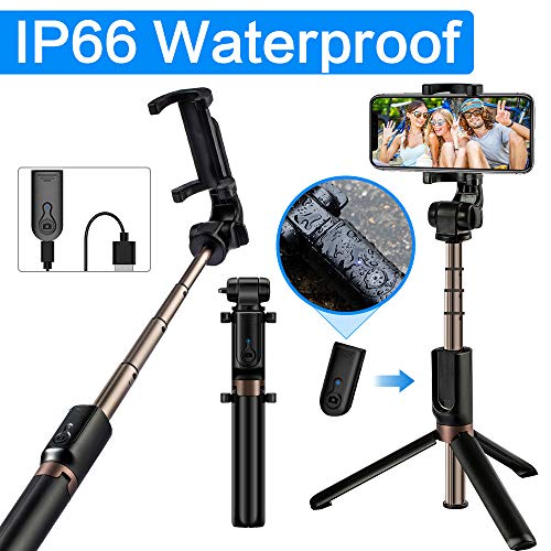 YOKKAO Selfie Stick Bluetooth Selfie Stick Tripod Extendable Foldable Wireless Detachable Remote Portable for Most iOS/Android Smartphone