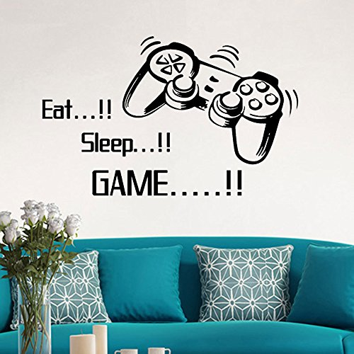 BODOAO Bedroom Stickers Eat Sleep Game Wall Boys Letter DIY Kids Rooms Decoration Art ()