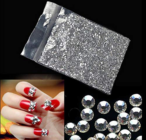 (MOJITO LIVING PTE 1440 Pcs Crystal Diamond Rhinestone Car/Mobile/PC Decor Decal Styling Art Self Adhesive Scrapbooking Sticker Silver 1.6MM)