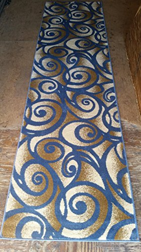 Modern Runner Area Rug Swirl Light Blue Design #341 Bellagio (2ft.x7ft3in.) (Rug Machine Made Contempo)