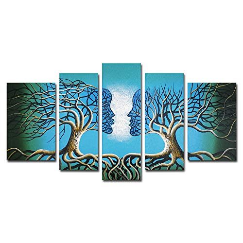 (Wieco Art Blue Tree Human Body Modern 5 Piece 100% Hand Painted Stretched and Framed Artwork Contemporary Abstract Oil Paintings on Canvas Wall Art for Living Room Bedroom Home Decorations)