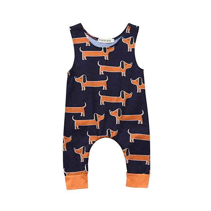 squarex /® Toddler Kids Baby Boys Cartoon Animal Print Romper Jumpsuits Clothes Summer