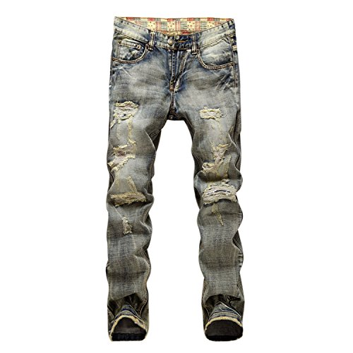 Evelin Lee Men's Ripped Slim Fit Straight Denim Jeans Jogger