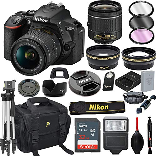 Nikon D5600 DSLR Camera with 18-55mm VR Lens + 32GB Card, Tripod, Flash, and More (20pc Bundle)
